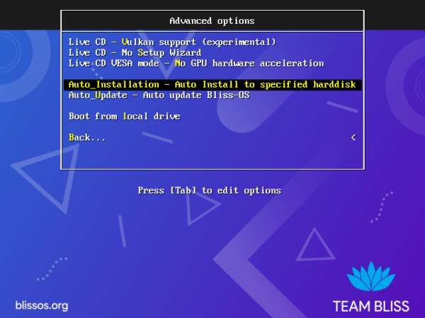 install Bliss OS
