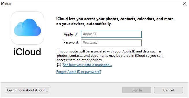 Access iCloud on Windows