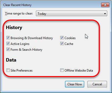 Clear Cache and Cookies