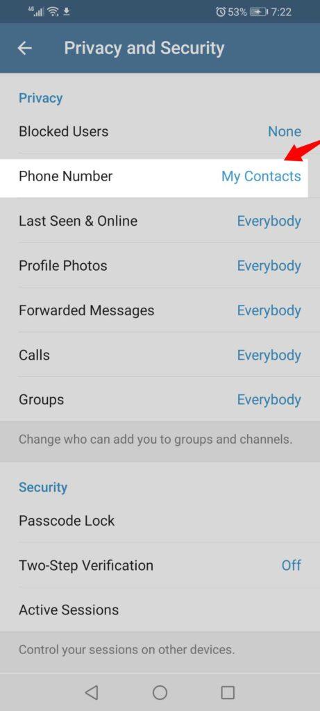 hide my phone number on Telegram