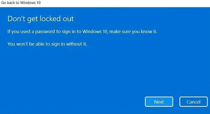 Downgrade to Windows 10